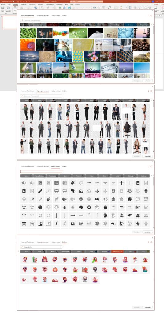 Iconen in PowerPoint, maar ook voorraadafbeeldingen, vrijstaande personen en stickers.